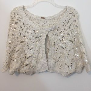 Free People Cropped Sequin Shawl / Sweater / Shrug